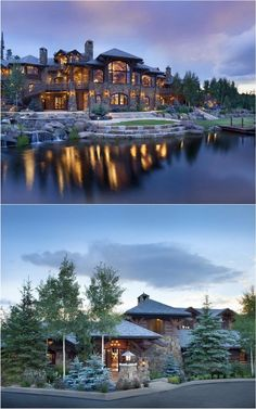 dream mansion Like the view from the street how the house blends with nature and the front yard Dream House Exterior, Dream House Plans, Style At Home, Dream Home Design, My Dream Home, Dream Mansion, Log Cabin Homes, Cabins, Luxury Houses