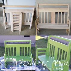Toddler Bed converted to a bench. Green Bench. Repurposed furniture Thinking about skipping the toddler bed and going to the twin mattress. Just not as cute. But you can't sit in a toddler bed so its annoying. Found my toddler bed in a neighbors trash, so. Maybe make a bench??