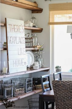 "Dining Room Open Shelving by The Wood Grain Cottage  Love the saying ""theres no place like home"""