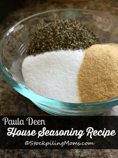 Great seasoning blend for seasoning potatoes and pork chops! Paula Deen House Seasoning Recipe is so simple to make with only 3 ingredients! Perfect for meat, chicken, fish or any breading mixture. Homemade Italian Seasoning, Italian Seasoning Mixes, Homemade Spices, Homemade Seasonings, Homemade Ranch, No Salt Recipes, Copycat Recipes, Cooking Recipes, Free Recipes
