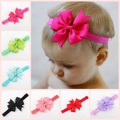 25 Pcs lot Solid Elastic Headband With Pinwheel Ribbon Bow For Girls Kids  Handmade Hairband Tie Hair Accessories Headwear e87356cac5ac