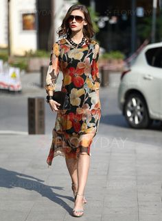 General Tunic Multicolor Day Dresses Polyester Casual Round Neckline Shift Dress Spring Midi Summer Floral S M L Sleeves XL XXL Dress Silk Midi Dress, Midi Dress With Sleeves, Dress Up, Spring Dresses, Day Dresses, Dresses Online, Floral Fashion, Modest Fashion, Fashion Dresses