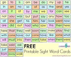 Free Printable Sight Word Cards - 90 words included and blank cards for you to add your own words.