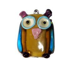 Green Owl Lampwork Pendant Bird Lampwork by CzechBeadsExclusive