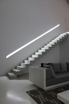 lit up handrail in a concrete wall for a minimal look
