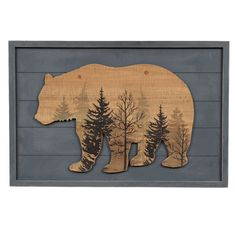 Wood Bear Lodge Sign - A Black Forest Decor Exclusive - This layered wood wall art with a bear silhouette and forest print adds comfort to your cabin. 28 x x cabin decor Wood Bear Lodge Sign Wood Wall Decor, Wood Wall Art, Western Decor, Rustic Decor, Rustic Wood, Diy Wood, Silhouette Ours, Black Forest Decor, Black Bear Decor