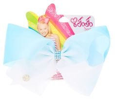 JoJo Siwa Large Turquoise & White Ombre Signature Hair Bow
