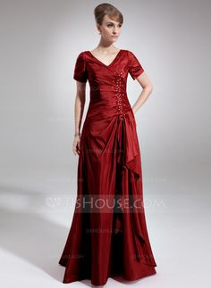 Mother of the Bride Dresses - $129.99 - A-Line/Princess V-neck Floor-Length Taffeta Mother of the Bride Dress With Ruffle Beading Sequins (008006337) http://jjshouse.com/A-Line-Princess-V-Neck-Floor-Length-Taffeta-Mother-Of-The-Bride-Dress-With-Ruffle-Beading-Sequins-008006337-g6337