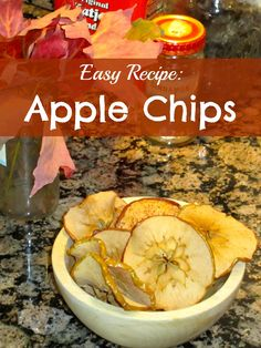Easy Recipe: Apple Chips. Makes a great no-sugar fall snack for kids.