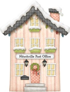 "Photo from album ""Nitwitville"" on Yandex. Christmas Clipart, Pink Christmas, Christmas Printables, Christmas Home, Decoupage, House Illustration, Christmas Drawing, House Quilts, Cute House"