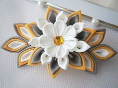 Handmade Kanzashi fabric flower grosgrain ribbon french barrette - hair…