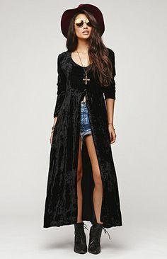 Saltwater Gypsy Vintage Velvet Long Sleeve Duster Dress at PacSun.com /// $79.95