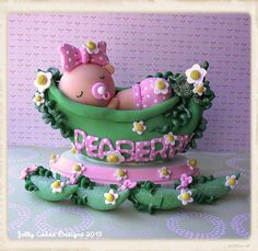cake topper with peapod party favors by Jelly Cakes Designs, via Flickr