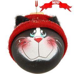 Black Cat SockHead Glass Ornament #cat #ornament #Christmas $21.99