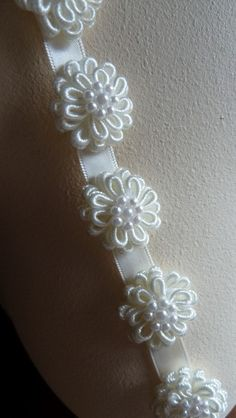 11 Lace Flower AppliquesTiny in  IVORY for Garters, Hairpins, Headbands, Shoe Clips TR 4