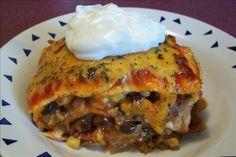 Beefy Layered Burrito Casserole