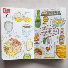 This Sunday #day38 late lunch at @mercadovallehermoso where we tasted a bunch of food: empanadas argentinas and sandwich de miga at @graciana.foodtruck truffle tasting at @tutrufa1 onigiris at Washoku Sushi and the spicy stuff at @kitchen154.  #foodlog #fooddiary #fooddrawing #foodillustration #foodsketch #sketch_daily #sketchbook #fabercastell #moleskine #moleskinichi #urbansketchers #theydrawandcook by moleskinichi