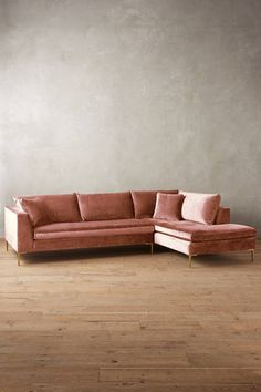 Slub Velvet Edlyn Right Sectional - anthropologie.com