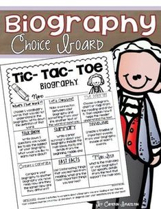 Biography Choice Board with 10 activity-half sheets, student checklist, and teacher rubric!