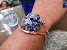 """Large Cluster Bismuth Copper Bracelet.  1.25"""" Round Cluster Bismuth Crystal. by NAKOBI on Etsy"""