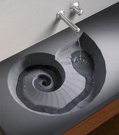 Brilliant Spiral Sink and Wash Basin Design Lavabo Design, Basin Design, Bathroom Sink Design, Bathroom Interior, Bathroom Sinks, Kitchen Sinks, Bathroom Ideas, Bathroom Designs, Kitchen Design
