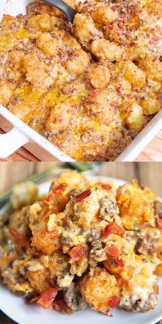 Bacon Cheeseburger Tater Tot Casserole - hamburger, bacon, cheese, cheese soup, sour cream and tater tots - what's not to love? We ate this twice in one day! Can be made ahead of time and refrigerated Meat Recipes, Dinner Recipes, Cooking Recipes, Healthy Recipes, Meals With Bacon, Easy Weeknight Recipes, Easy Meals To Make, Easy Hamburger Meals, Best Hamburger Casserole Recipes