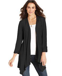 Style Sweater, Three-Quarter-Sleeve Roll Tab Cardigan - Womens Sweaters - Macy's