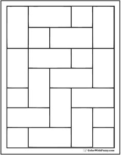 Offset Brick Pattern Coloring Pages Brick Patterns, Quilt Patterns Free, Pattern Blocks, Stained Glass Patterns Free, Stained Glass Projects, Zentangle, Cute Bedroom Decor, Pattern Coloring Pages, Card Sketches