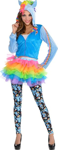 Adult Cozy Rainbow Dash Costume - My Little Pony - Party City Dress Up Costumes, Diy Costumes, Adult Costumes, Costumes For Women, Costume Ideas, Rainbow Dash Costume, Rainbow Costumes, Halloween Costume Accessories, Halloween Costumes For Kids