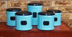 fabulous folger s coffee plastic container upcycle, chalkboard paint, closet, crafts, repurposing upcycling, storage ideas, Pretty great color aren t they Krylon