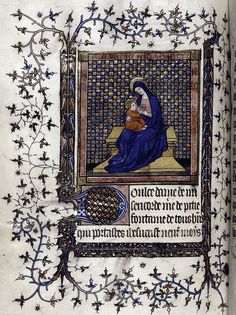 Opening of section of prayers in French. Virgin & child enthroned. 1400-1415. Book of Hours, Paris.