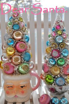 Tall Pink Santa Christmas Bottle Brush Tree Sweet by RuinBibber