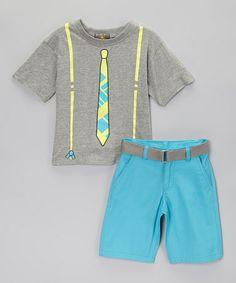 Love this Gray & Blue Tie Tee & Shorts - Boys on #zulily! #zulilyfinds