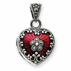 """Sterling Silver Red Enamel and Marcasite Heart Locket - 5/8"""" X 3/4"""" - JewelryWeb JewelryWeb. $53.20. Save 56% Off!"""