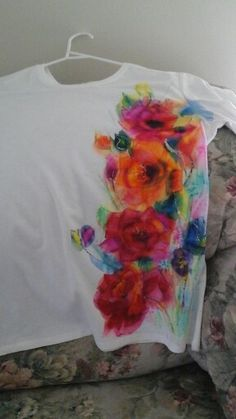 Tshirt painted with alcohol  ink ,