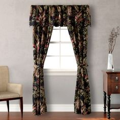 $50 Tommy Bahama® Jungle Drive Window Treatments in Black - Transform your kitchen into a exotic paradise with the lively Tommy Bahama Jungle Drive Window Treatments. An allover tropical floral design valence. KITCHEN???