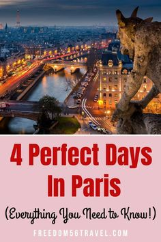 The perfect Paris itinerary for 4 beautiful days! Great for Spring, Summer or Winter, this 4 day Paris itinerary will let you see all that beautiful Paris is famous for! Paris Travel Guide, Europe Travel Tips, European Travel, Travel Advice, Places To Travel, Places To Go, Travel Abroad, Travel Quotes, Travel Ideas