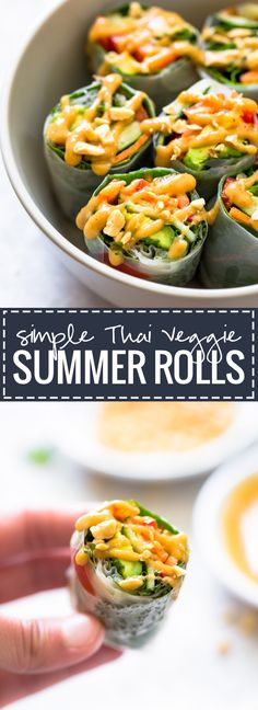 Rolls with Peanut Sauce Thai Summer Rolls with Peanut Sauce - a SUPER yummy, healthy, and portable lunch idea! Good Food, Yummy Food, Yummy Eats, Yummy Yummy, Asian Recipes, Healthy Recipes, Delicious Recipes, Thai Vegetarian Recipes, Vegetarian Picnic