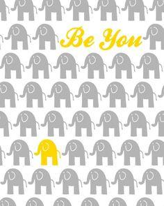 Yellow and Grey Nursery Decor Elephant Theme