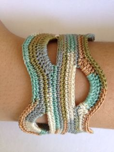 Freeform Crochet Cuff Bracelet, Unique One of a Kind, Antique Button Closure, Fall Color Fashion, Great Gift For Her Under 25. $24.00, via Etsy.