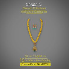 #Navratri Collection -  Jhumka #pendant on a necklace of #Yellow Agates @ #BigBillionDays https://www.mayasarc.com/product/heritage-jhumka-pendant-yellow-agates/2016-2029?utm_content=bufferbe301&utm_medium=social&utm_source=pinterest.com&utm_campaign=buffer