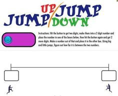 FREE SMARTBOARD GAME: Jump Up / Jump Down - hit the button, get 2 digits and place them on one end of the number line. Do it again for the other end of the number line. What kinds of jumps do you need to get from one number to the other? schoolmath, number