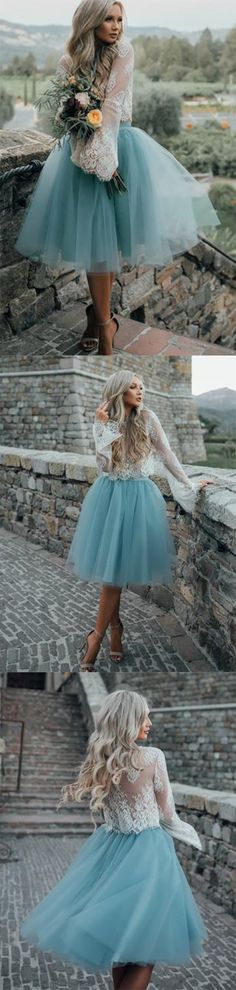 High Fashion Two-Piece Long Sleeves Homecoming Dress White Lace Top with Tutu Skirt PM122