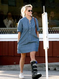 Reese Witherspoon- Chambray Dress and Sneakers