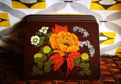 60's Retro placemats, Place mats, Tablemats, Dinner Table mats Vintage St Michaels Orange flowers set of 5 cork backed orange, yellow, brown