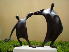 Bronze Couples or Group Sculptures #sculpture by #sculptor Plamen Dimitrov titled: 'Friends (Miniature Small Abstract figurative Sculpture)' £467 #art