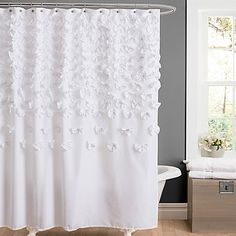 Featuring lovely handsewn flowers stitched onto the curtain, the ultra-soft Lucia Shower Curtain adds high style to your bathroom. It's the perfect blend of texture, simplicity, and sophistication.