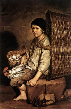 CERUTI, Giacomo  [Italian Baroque Era Painter, 1698-1767]  Boy with a Basketc. 1745
