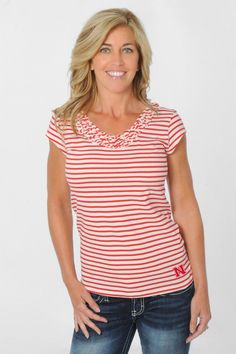 Don't miss this University of Nebraska Cornhuskers Women's Ruffled Collar Shirt from UG Apparel!