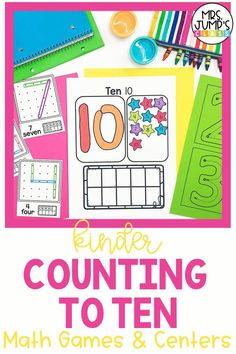 When learning numbers 1-10 in kindergarten, it is important to have fun math games and centers for your students to complete. These fun kindergarten math centers help student practice counting to ten, one-to-one correspondence and number recognition to 10.